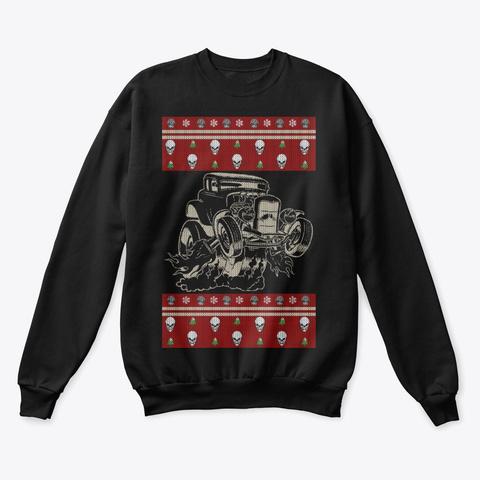 Hot Rod Ugly Christmas (Skulls N' Trees) Black T-Shirt Front