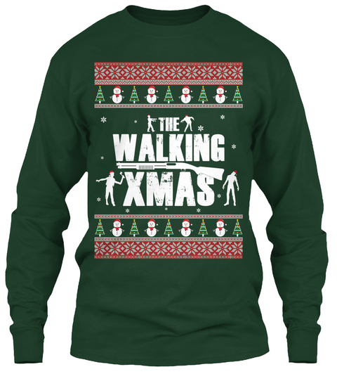 The Walking Xmas Forest Green T-Shirt Front