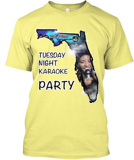 Tuesday Night Karaoke Party !! Lemon Yellow  T-Shirt Front