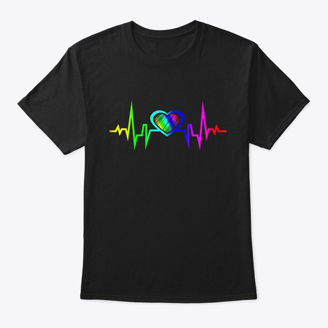 Lgbt Rainbow Heartbeat T Shirt Gay And Black T-Shirt Front