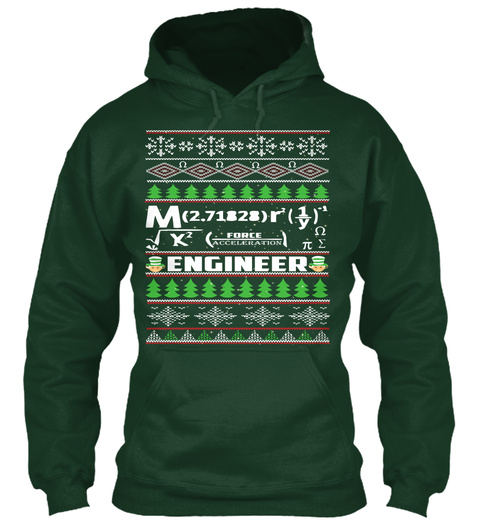 Engineering Ugly Christmas Sweater Forest Green T-Shirt Front