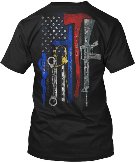 Heroes Flag Original Black T-Shirt Back