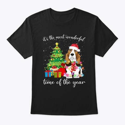 Basset Hound With Christmas Tshirt Black T-Shirt Front