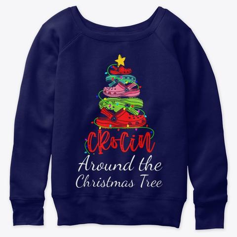 Crocin Around The Christmas Tree Funny Navy  T-Shirt Front