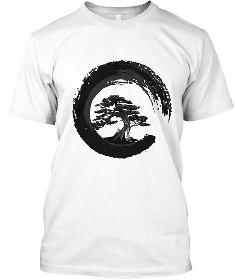 Bonsai Tree Japanese Calligraphy White T-Shirt Front