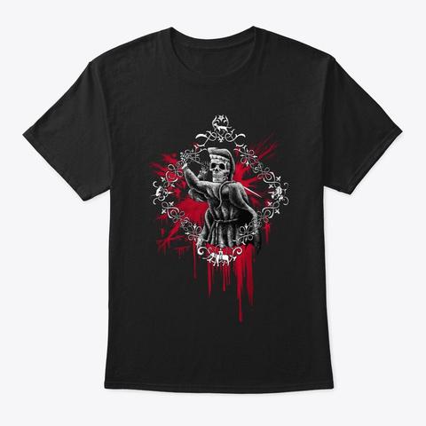 Posta Di Donna Scheletri   Splatter Black T-Shirt Front