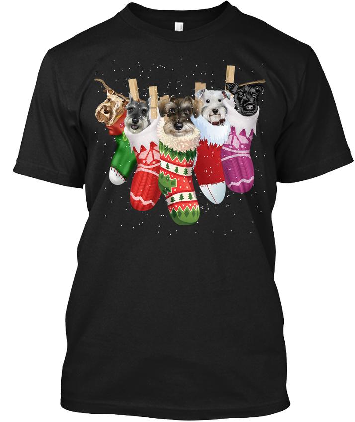 schnauzer sock merry christmas hanes tagless tee