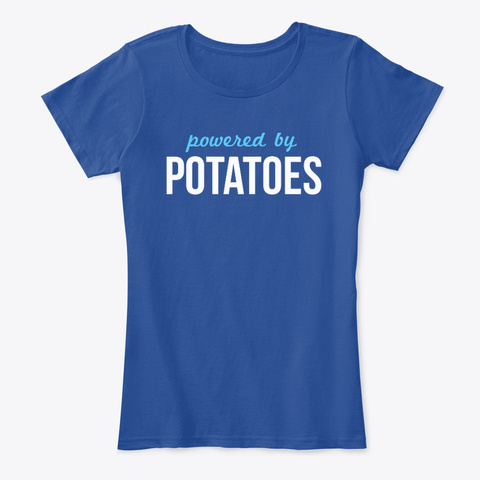 Powered By Potatoes Deep Royal  T-Shirt Front
