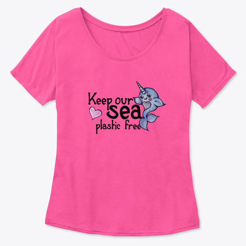 Keep Our Sea Plastic Free Narwhal Art Berry  T-Shirt Front