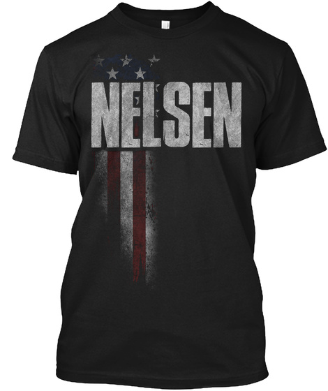 Nelsen Family American Flag Black T-Shirt Front