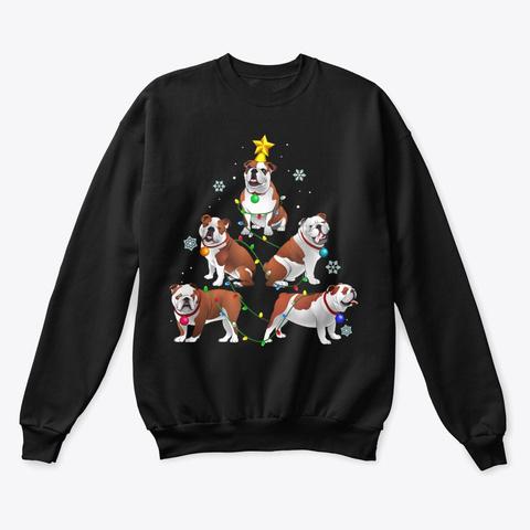 Funny Bulldog Christmas Tree T Shirt Black T-Shirt Front
