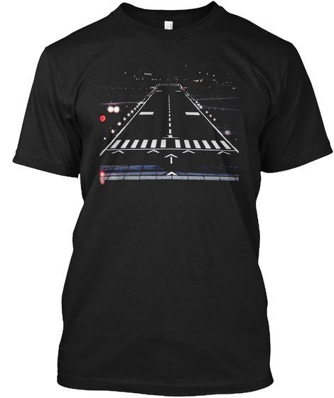 Airport Runway Night View  New T Shirt Black T-Shirt Front