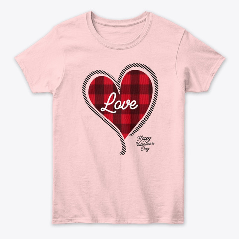 Valentine's Day Gifts Read Plaid Heart Light Pink T-Shirt Front