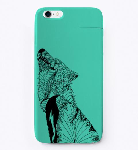 Mya's Designs Howling Wolf Phone Case Aqua T-Shirt Front