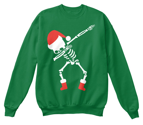 dabbing skeleton santa christmas sweater kelly green sweatshirt front