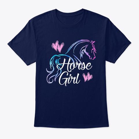 Horse Girl Horses Riding Navy T-Shirt Front