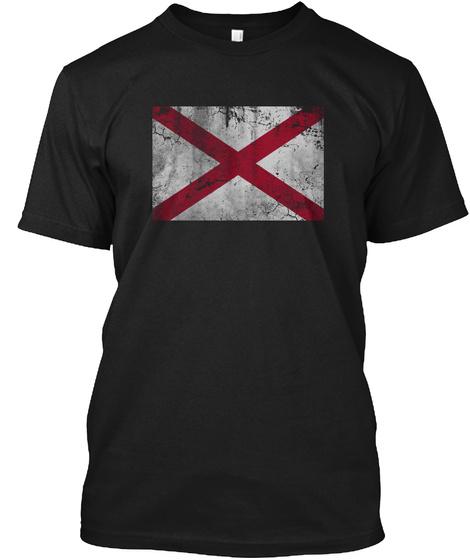 Vintage State Flag Of Alabama Black T-Shirt Front