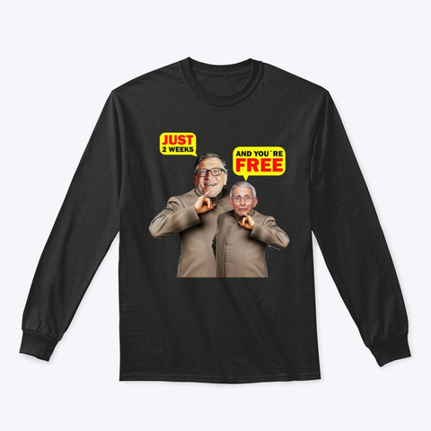 Just 2 Weeks And You're Free Black T-Shirt Front
