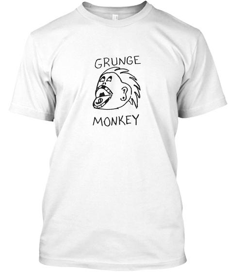 Grunge Monkey White T-Shirt Front