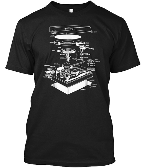 Turn Table Shirt   Dj Shirt   Turn Table Black T-Shirt Front