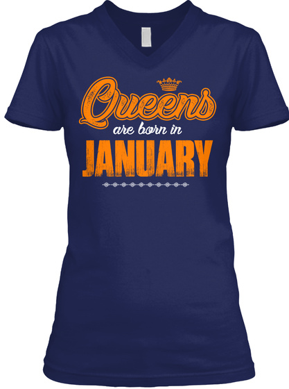 Queens Are Born In January Navy T-Shirt Front