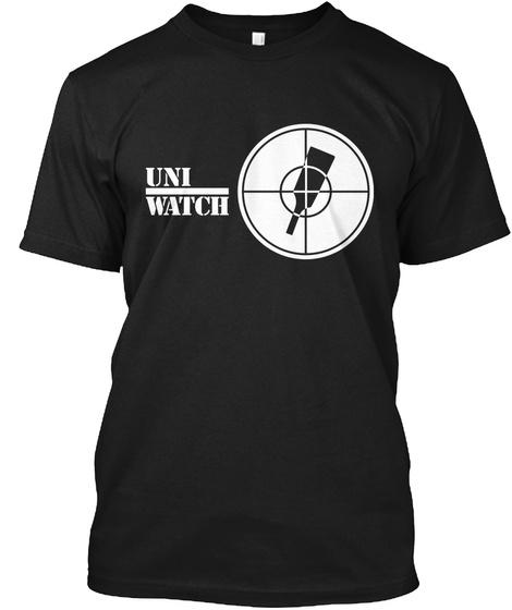 Uni Watch Black T-Shirt Front