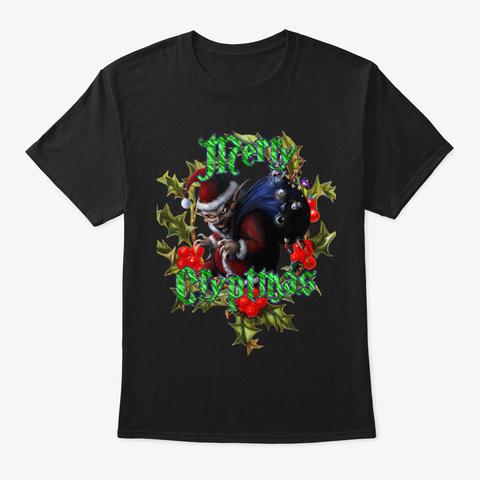 Cujo's Crypt Radio Christmas  Black T-Shirt Front