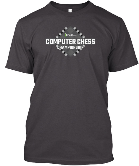 Chess Com Computer Chess Championship Heathered Charcoal  T-Shirt Front