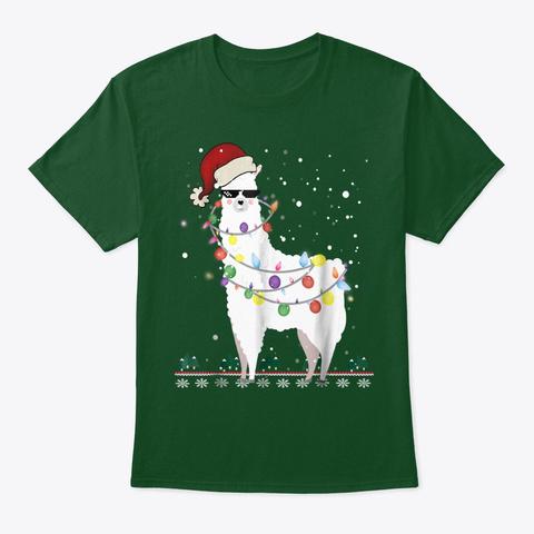 Christmas Llama Santa Hat Ugly Xmas Deep Forest T-Shirt Front