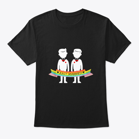 Gay Couple Shirt Just Married Rainbow Black T-Shirt Front