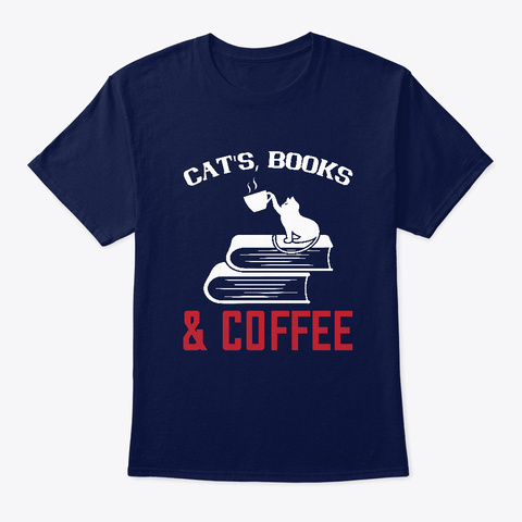 Cats, Books, & Coffee Tee Navy T-Shirt Front