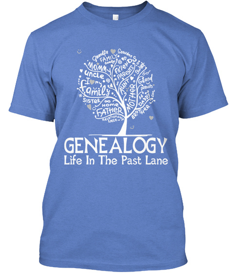 Genealogy Life In The Past Lane Heathered Royal  T-Shirt Front