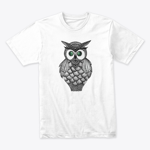 Emerald Eyes Owl  White T-Shirt Front
