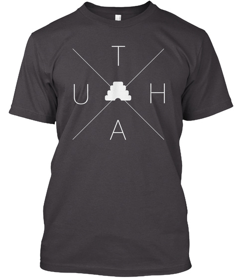 U T H A Heathered Charcoal  T-Shirt Front