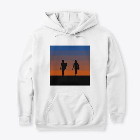 Summer Surfers Sunset White T-Shirt Front