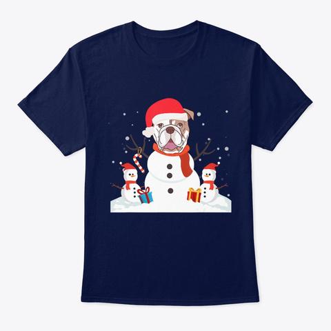 Bulldog Santa Christmas Light Dog Lovers Navy T-Shirt Front