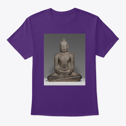 Buddha Shakyamuni Seated In Meditation  Purple T-Shirt Front