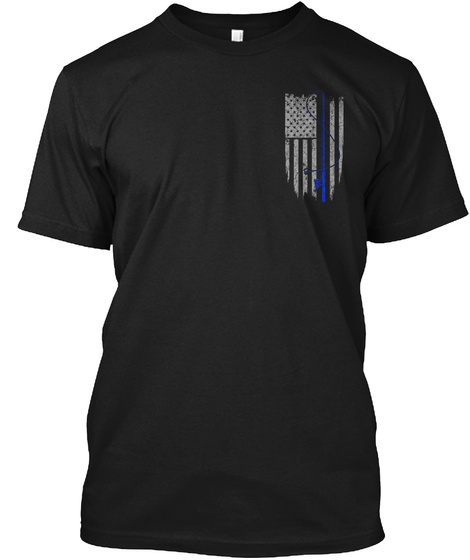 American Fishing Flag Shirt Black T-Shirt Front