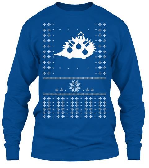 Happy Hedgehog Holidays Christmas Tee Royal T-Shirt Front