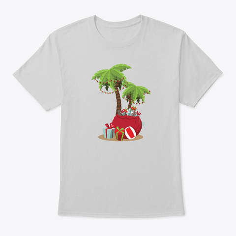 Decorated Christmas Palm Tree Xmas  Light Steel T-Shirt Front