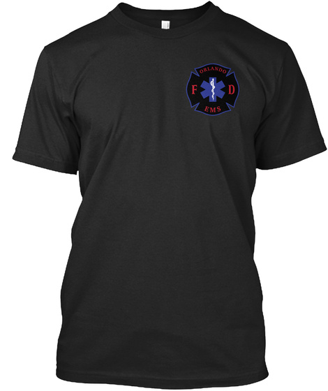 Orlando Fd Ems Vintage Black T-Shirt Front