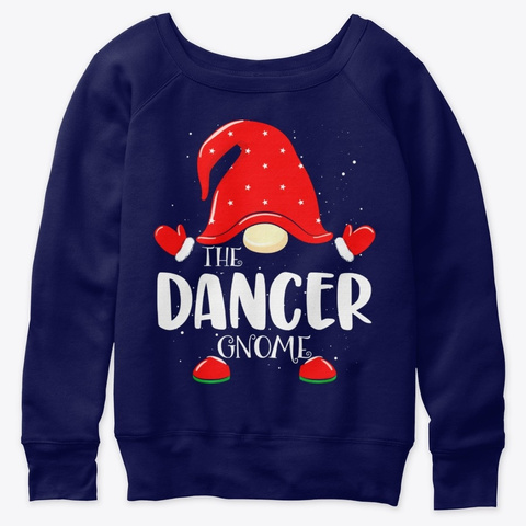 Dancer Gnome Family Group Christmas Gift Navy  T-Shirt Front
