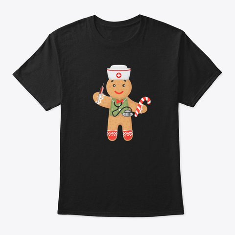 Gingerbread Christmas Nurse Funny Xmas  Black T-Shirt Front