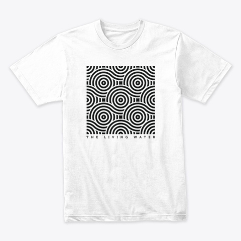 Living Water Vintage Abstract Design White T-Shirt Front