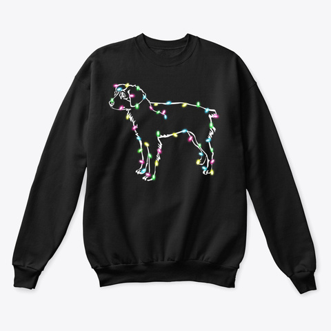 Brittany Dog Christmas Lights Shirt Black T-Shirt Front