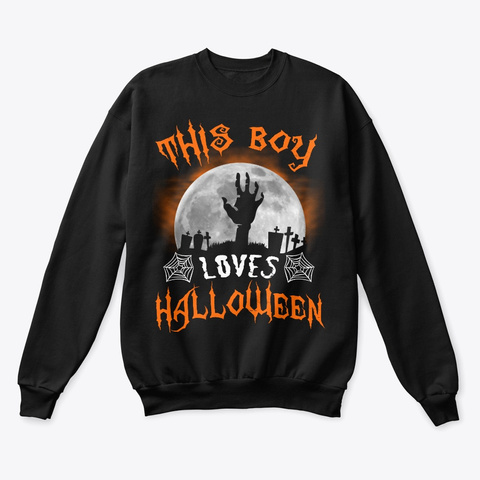 This Boy Loves Halloween 2019 Zombie Black T-Shirt Front