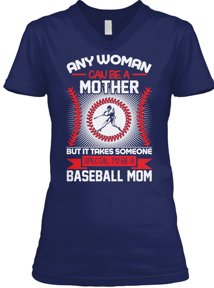 Mothers  Day Gift For Baseball Mom Navy T-Shirt Front