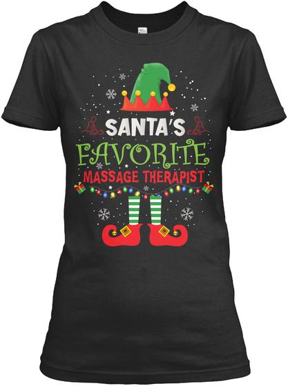 Santa's Favorite Massage Therapist Black T-Shirt Front