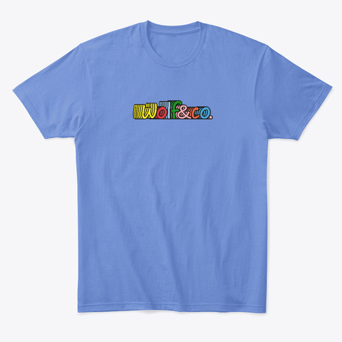 Multi Colored Logo  Heathered Royal  T-Shirt Front