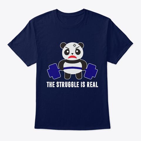 Panda The Struggle Is Real Bear Deadlift Navy T-Shirt Front